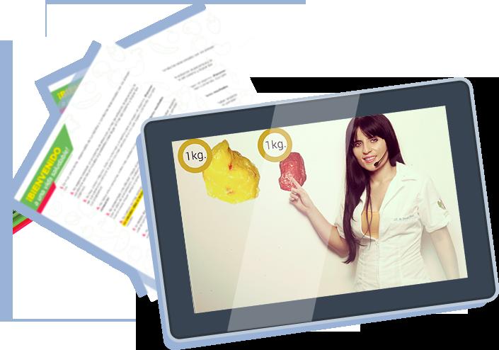 tablet con curso de aprender a crear tu dieta ideal